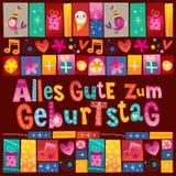 De Duitse Gelukkige verjaardag van Allesgute zum Geburtstag Deutsch Stock Afbeeldingen