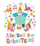 De Duitse Gelukkige verjaardag van Allesgute zum Geburtstag Deutsch Stock Afbeelding