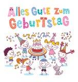 De Duitse Gelukkige verjaardag van Allesgute zum Geburtstag Deutsch Stock Fotografie