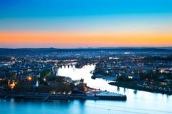 De Duitse Hoek, Koblenz. Royalty-vrije Stock Afbeelding