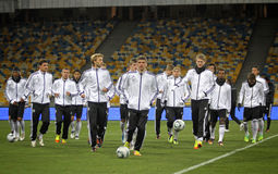 De Duitse nationale spelers van het voetbalteam stock afbeeldingen