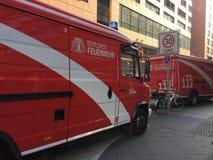 De Duitse vrachtwagen van de brandweerkorpsdienst Stock Foto's