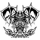 De duivel in een agressieve houding Vectordieillustratie van een duivel, demon, dood met een sikkel, op witte achtergrond wordt g Stock Foto