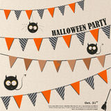 De duivel Owl Halloween nodigt, de klaar slanke uitnodiging van de ontwerppartij uit grafiek, in ontwerp Royalty-vrije Stock Afbeeldingen
