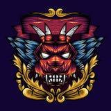 Is de duivels Hoofdmeetkunde Sier een Illustratie van een duivelshoofd met scherpe hoektanden en vleugels vector illustratie