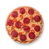Is de dun gesneden pepperonis een populair pizzabovenste laagje in op zijn Amerikaans pizzerias stock foto's