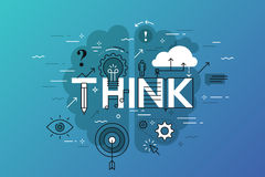 De dunne banner van het lijn vlakke ontwerp voor denkt Web-pagina, het leren, kennis, innovatie, creativiteit, oplossingen vector illustratie