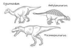 De dunne de stijlillustraties van de lijngravure, diverse soorten voorhistorische dinosaurussen, het omvat iguanodon, tyrannosaur vector illustratie