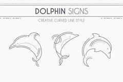 De dunne dolfijn van de lijnstijl - reeks mariene zoogdieren vector illustratie