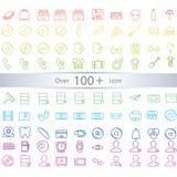 De dunne exclusieve geplaatste pictogrammen van lijnpictogrammen bevat universele interfac Stock Foto