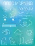 De dunne mobiele app elementen van het interfaceontwerp bij onduidelijk beeld Stock Foto's