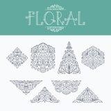 De dunne monoelementen van het lijn bloemen decoratieve ontwerp Stock Fotografie