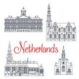 De dunne pictogrammen van de lijnreis van Nederland stock illustratie