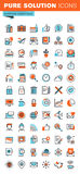 De dunne pictogrammen van het lijnweb van bedrijfshoofdzaak Stock Fotografie