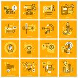 De dunne pictogrammen van het lijnweb van bedrijfshoofdzaak vector illustratie