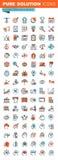 De dunne pictogrammen van het lijnweb voor zaken, marketing en financiën stock illustratie