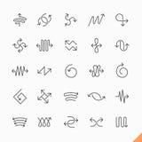 De dunne pictogrammen van lijnpijlen Stock Fotografie