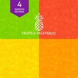 De dunne Reeks van het de Groentepatroon van het Lijnfruit Royalty-vrije Stock Afbeeldingen