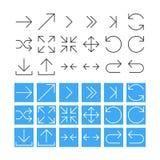 De dunne Reeks van het Pijlpictogram. Vectorillustratie Stock Afbeelding