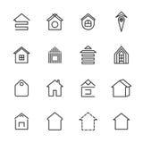 De dunne reeks van lijnpictogrammen van huis Stock Foto
