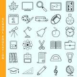 De dunne vector geplaatste pictogrammen van het lijnonderwijs Royalty-vrije Stock Foto