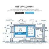 De dunne website van het lijnontwerp in aanbouw Web-pagina de bouwproces Stock Afbeelding
