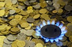 De duurdere kosten van aardgas stock foto's
