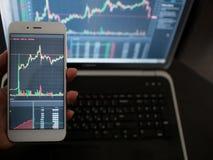 De dwars-platformdiensten voor handel op de uitwisseling Hand met de telefoon op de achtergrond van laptop royalty-vrije stock afbeeldingen