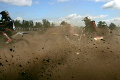 De dwarsactie van Moto Stock Foto's