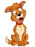De dwaze hond van het beeldverhaal met rode kraag Stock Foto's