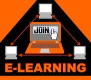 De e-lerende banner met groep computers in driehoekssamenstelling, knoop sluit zich aan, overhandigt bij wijzer, pijlsymbolen stock illustratie