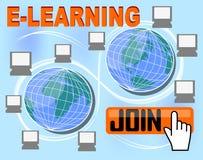 De e-lerende banner met groep computers rond de bol, knoop sluit zich aan, overhandigt bij wijzer, vector illustratie