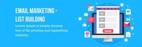 De e-maillijstbouw - e-mail marketing concept Stock Foto's