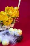 De Easter vida ainda dos ovos e dos tulips Imagens de Stock Royalty Free