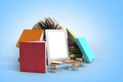 De EBooklezer Books en 3d de tablet geven beeld op blauwe gradiënt terug Stock Fotografie