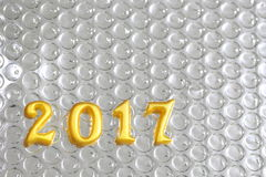 de echte 3d voorwerpen van 2017 op bezinningsfolie, gelukkig nieuw jaarconcept Royalty-vrije Stock Foto