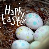 De echte kleine eieren in een stro nestelen het concept Pasen Inschrijving Gelukkige Pasen Selectieve nadruk Stock Afbeeldingen