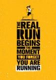 De Echte Looppas begint met het Ogenblik u vergeet u loopt De Motivatiecitaat van de sportmarathon Het concept van de sport royalty-vrije illustratie