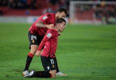 De echte spelers die van Mallorca een doel vieren stock afbeelding