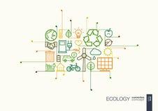De ecologie integreerde dunne lijnsymbolen royalty-vrije illustratie
