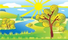 De ecologielandschap van de aard. Zon en rivier. Stock Fotografie