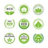 De ecologische geplaatste pictogrammen van bladerenetiketten Stock Fotografie