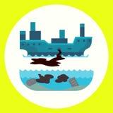 De ecologische verontreiniging van de problemen milieuolie van de vernietiging van de de luchtontbossing van de wateraarde van di stock illustratie