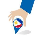 De Economische Gemeenschap van ASEAN, AEC in de speld van de zakenmanhand met Filippijnen, voor binnen aanwezig ontwerp Stock Afbeelding