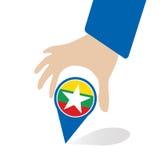 De Economische Gemeenschap van ASEAN, AEC in de speld van de zakenmanhand met Myanmar, voor binnen aanwezig ontwerp Royalty-vrije Stock Fotografie