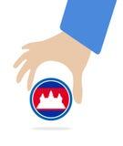 De Economische Gemeenschap van ASEAN, AEC in zakenmanhand met Kambodja, voor ontwerp binnen huidig op witte achtergrond Royalty-vrije Stock Afbeelding