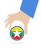 De Economische Gemeenschap van ASEAN, AEC in zakenmanhand met Myanmar, voor ontwerp binnen huidig op witte achtergrond Stock Foto