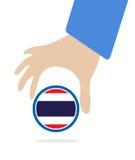 De Economische Gemeenschap van ASEAN, AEC in zakenmanhand met Thailand, voor ontwerp binnen huidig op witte achtergrond Stock Foto's