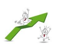 De economische groei en de zakenman Stock Foto