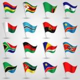 De Ectorreeksen van het golven markeert Zuid-Afrika op zilveren pool en rood één - pictogram van Afrikaanse staten vector illustratie